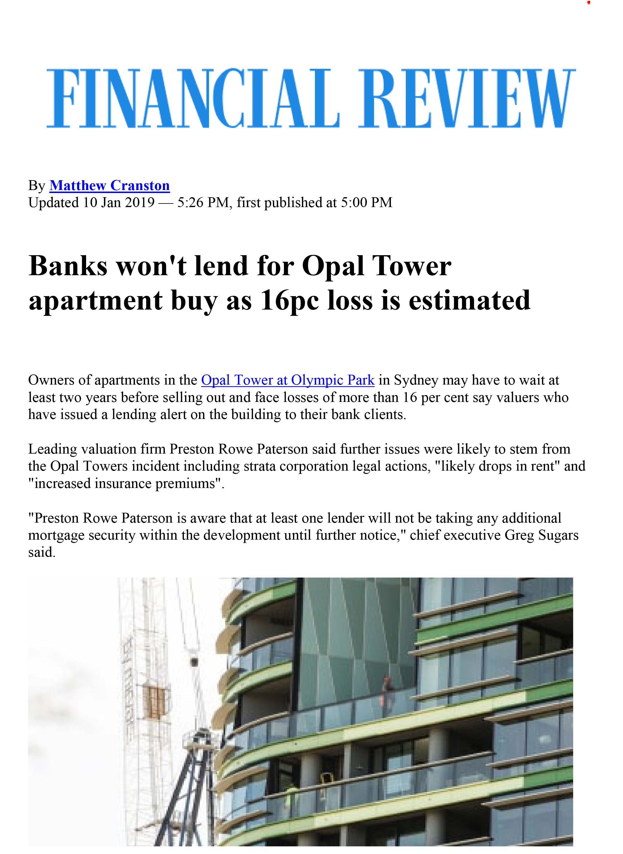 AFR Article - 11/01/19 Banks wont lend for Opal Tower apartment buy as 16pc loss is estimated