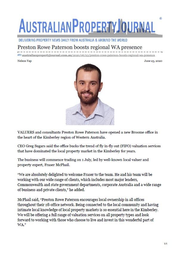 APJ Article - 24/06/20 Preston Rowe Paterson boots regional WA presence