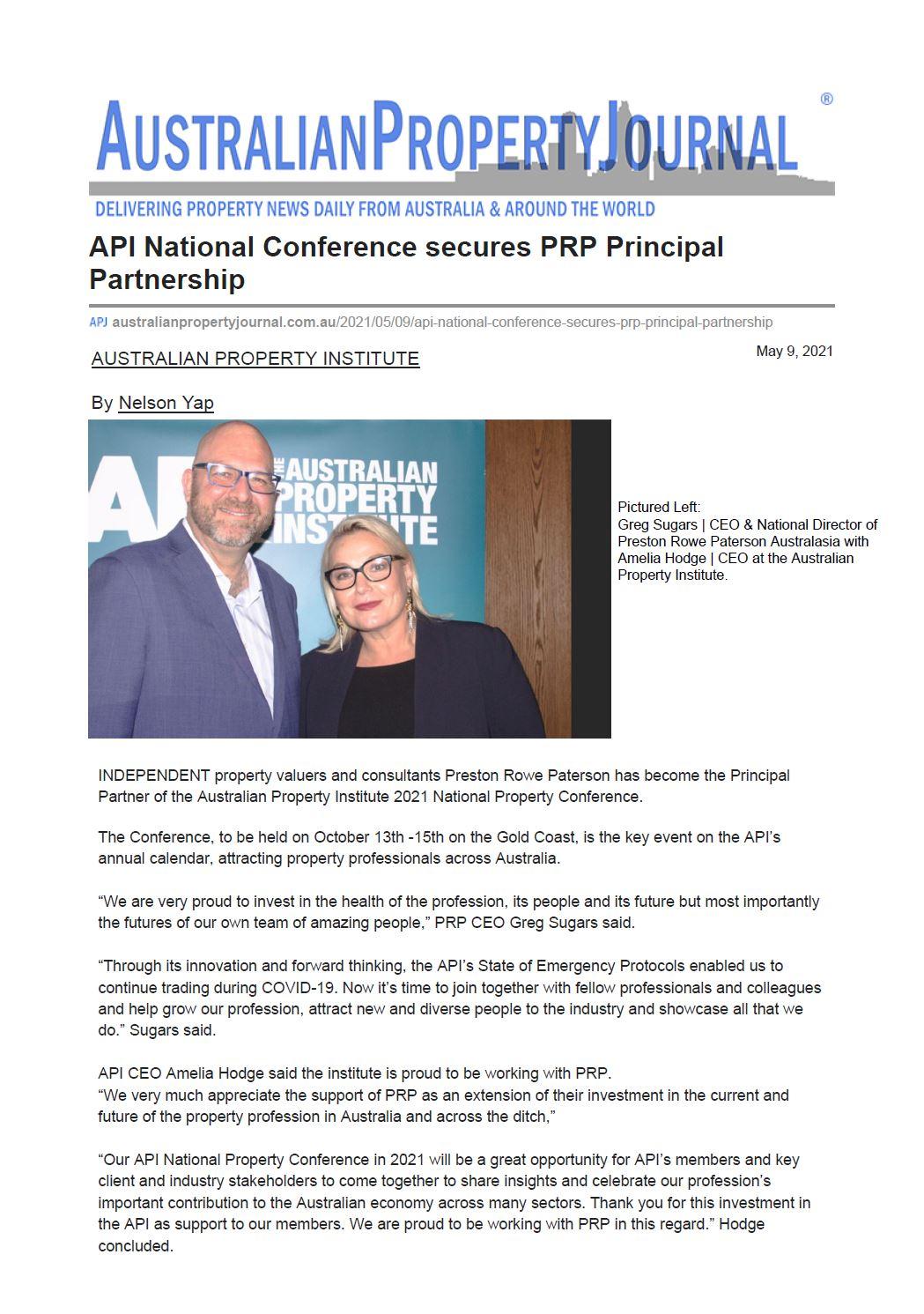 APJ Article - 09/05/2021 API National Conference Secures PRP Principal Partnership