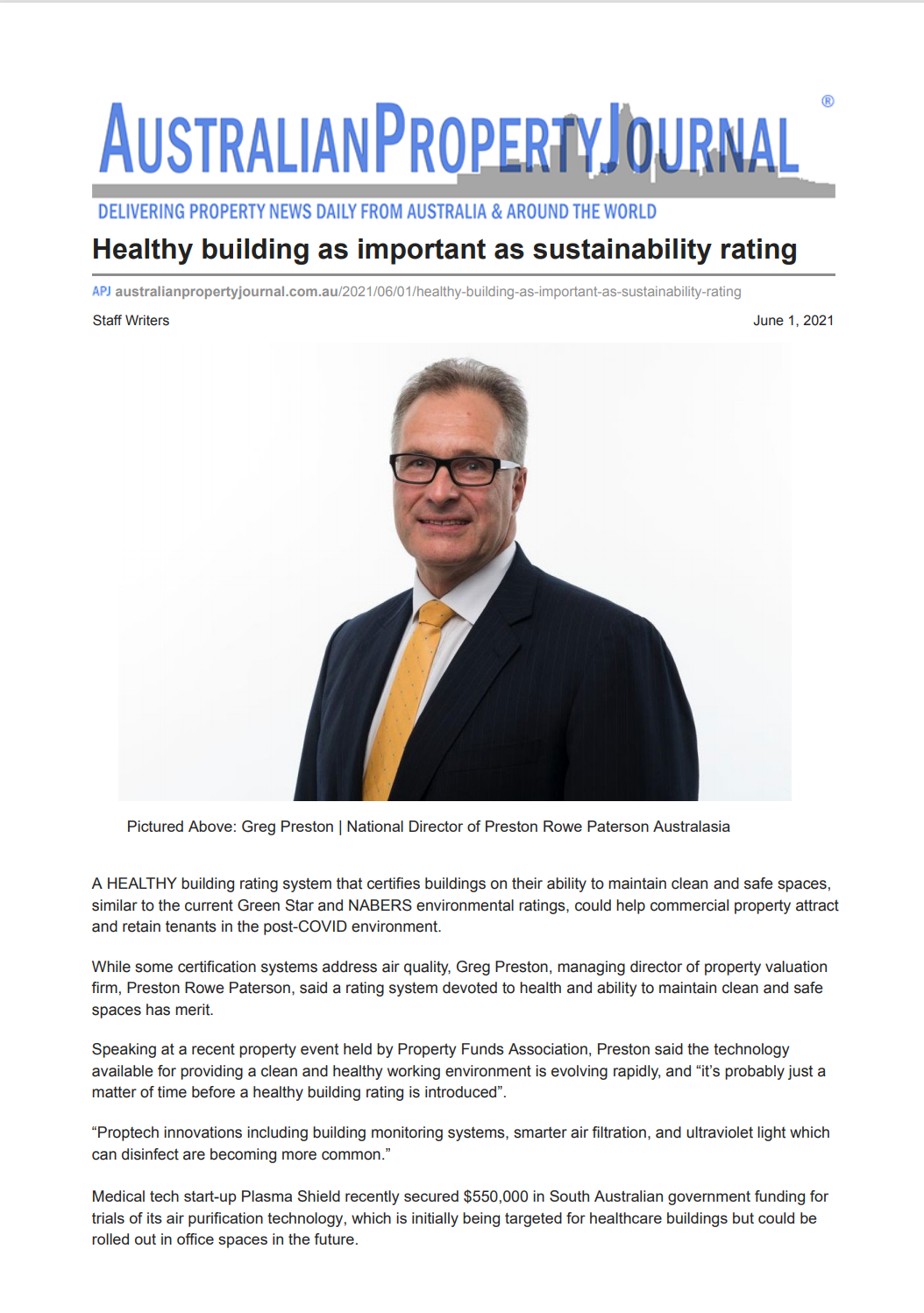 APJ Article - 01/06/2021 Healthy Building as Importany as Sustainability Rating