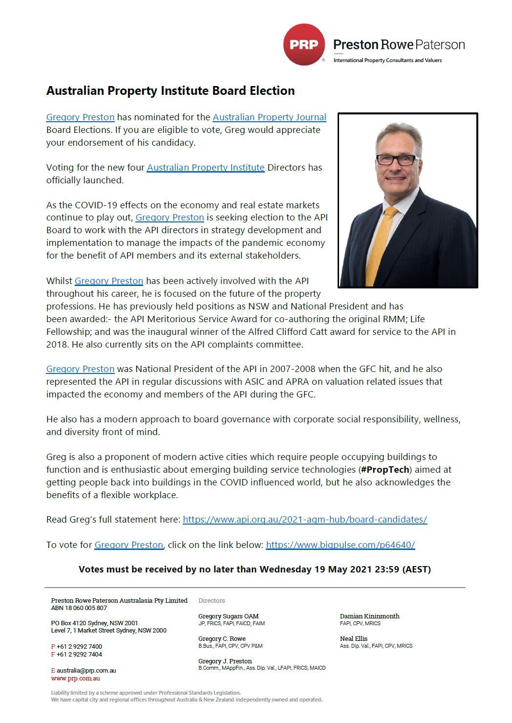 Australian Property Institute Board Election